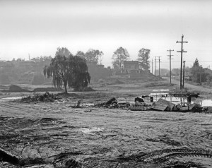 Peat removal in 1953 at the future Dahl Field, looking eastward with NE 75th Street on the right. Seattle Municipal Archives photo #28939