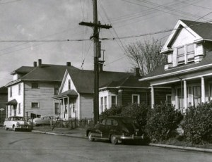 Houses which were on John Street at the present Seattle Center site.