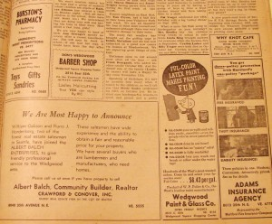 Balch was a business advertiser in the 1957 edition of the Wedgwood Echo newspaper produced by the community club.
