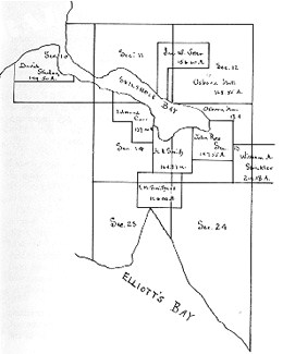 This map of land claims shows the name of John Ross and to the right, off of the map, is Lake Union. The name of William Strickler is at the site of present-day Fremont.