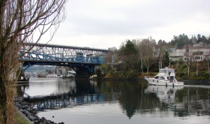 The Fremont neighborhood is on the north side of the Ship Canal.