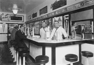 Horluck's Soda Fountain in downtown Seattle in the 1920's. Photo courtesy of UW Special Collections.