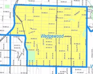 The western Wedgwood neighborhood boundary is along Lake City Way NE between NE 85th to 95th Streets.