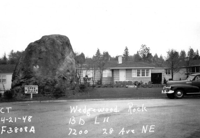 This property card from the tax assessors office is meant to show the house at 7200 28th Ave NE, but of course we are more impressed with the view of the Rock in 1948.