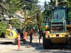 Wedgwood School.work at corner of 85th and 30th.18 August 2015