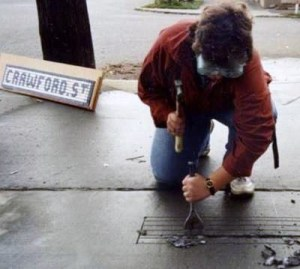 Artist Benson Shaw with street tiles