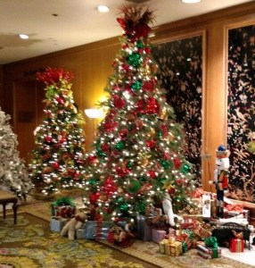 Trees and decorations at the Fairmont Olympic Hotel in downtown Seattle