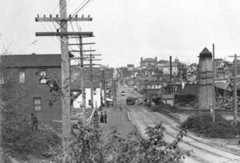 In this early 1900s photo looking north on Fremont Avenue, we see a streetcar at center at what would become North 34th Street. On the horizon is B.F. Day School.