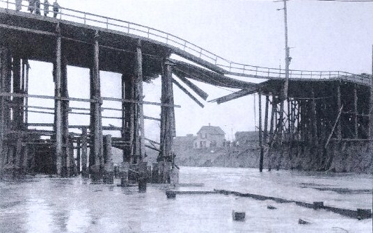 The Fremont trestle bridge was torn out by floodwater from a dam break on March 13, 1914.