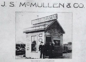 In the early 1900s the McMullens had this office at the intersection of North 34th Street and Fremont Avenue. It served as a receiving station for their customers to be met and conducted to the larger Hay and Grain building nearby.