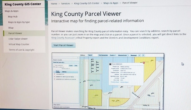 King County Parcel Viewer start page | Wedgwood in Seattle