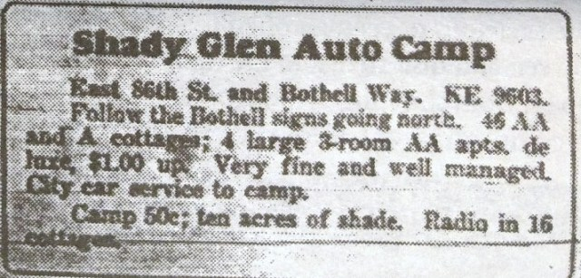 shady glen auto camp ad of 1934
