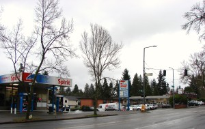 Spirit gas station and Johnson's Auto at NE 95th Street.December 2017