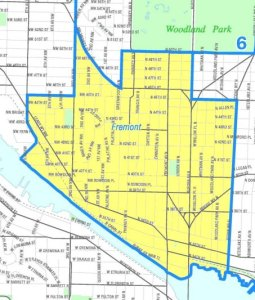 Fremont neighborhood boundaries map
