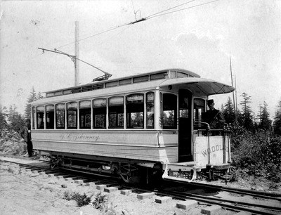 Woodland Park private car in 1891.Seattle Municipal Archives Item 30713