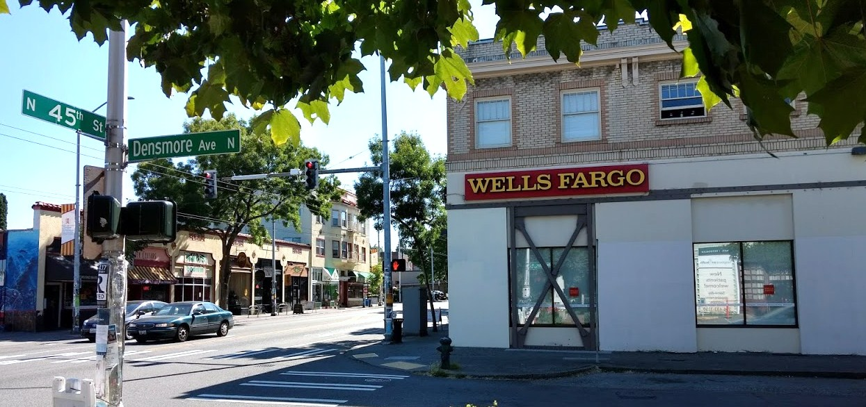 Wells fargo looking eastward on n 45th in Built in seattle