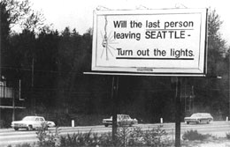 Billboard of April 1971 courtesy of Seattle Times newspaper
