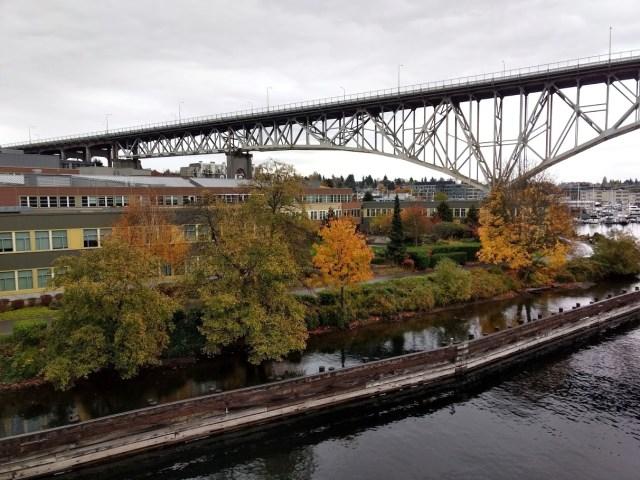 Aurora Bridge northeastern view from the Fremont Bridge.November 11 2017
