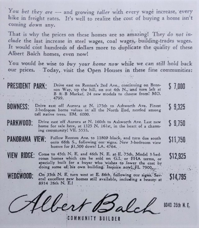 Balch developments ad in the Seattle Times newspaper.25 January 1953 page 21