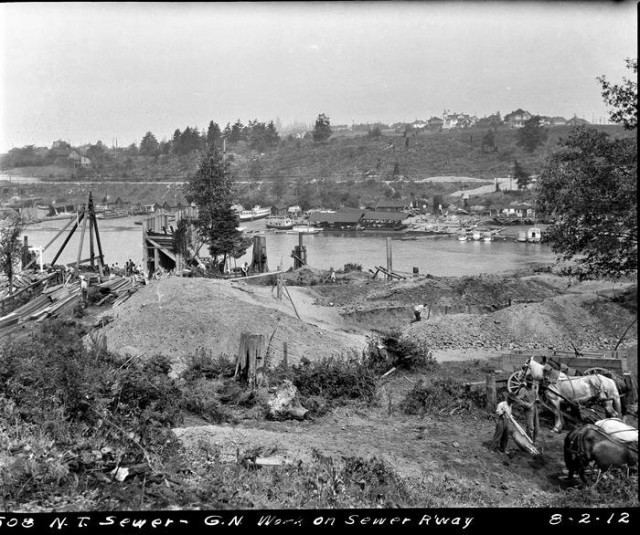 Ross as viewed from 3rd and Ewing North Trunk sewer line.SMA photo 6114 of 2 August 1912